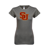 Next Level Ladies SoftStyle Junior Fitted Charcoal Tee-SU