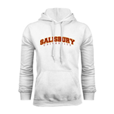 White Fleece Hoodie-Arched Salisbury University