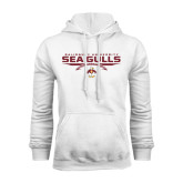 White Fleece Hoodie-Sea Gulls Football Flat