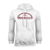 White Fleece Hoodie-Sea Gulls Football Horizontal w/ Ball