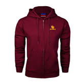 Champion Maroon Fleece Full Zip Hood-SU Sea Gulls