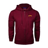 Champion Maroon Fleece Full Zip Hood-Arched Salisbury University