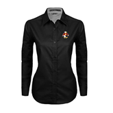 Ladies Black Twill Button Down Long Sleeve-Sammy the Sea Gull