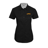 Ladies Black Twill Button Up Short Sleeve-Arched Salisbury University
