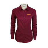 Ladies Maroon Twill Button Down Long Sleeve-Arched Salisbury University