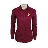 Ladies Maroon Twill Button Down Long Sleeve-Sammy the Sea Gull