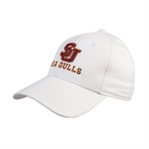 White Heavyweight Twill Pro Style Hat-SU Sea Gulls