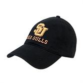 Black Twill Unstructured Low Profile Hat-SU Sea Gulls