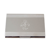 Dual Texture Silver Business Card Holder-Sammy the Sea Gull Engraved