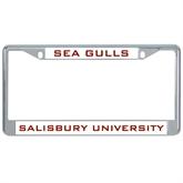 Metal License Plate Frame in Chrome-Sea Gulls