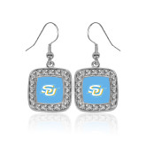 Crystal Studded Square Pendant Silver Dangle Earrings-Interlocking SU