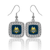 Crystal Studded Square Pendant Silver Dangle Earrings-The Human Jukebox Official Mark