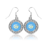 Crystal Studded Round Pendant Silver Dangle Earrings-Interlocking SU