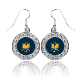 Crystal Studded Round Pendant Silver Dangle Earrings-Fabulous Dancing Dolls Official Mark