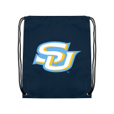 Navy Drawstring Backpack-Interlocking SU