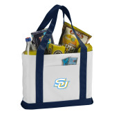 Contender White/Navy Canvas Tote-Interlocking SU