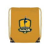 Gold Drawstring Backpack-Fabulous Dancing Dolls Official Mark