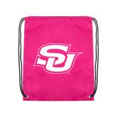Pink Drawstring Backpack-Interlocking SU