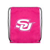 Nylon Pink Drawstring Backpack-Interlocking SU