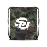 Nylon Camo Drawstring Backpack-Interlocking SU