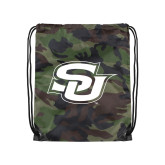 Camo Drawstring Backpack-Interlocking SU