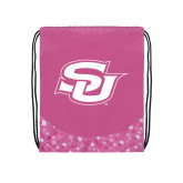 Nylon Pink Bubble Patterned Drawstring Backpack-Interlocking SU