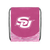 Nylon Zebra Pink/White Patterned Drawstring Backpack-Interlocking SU