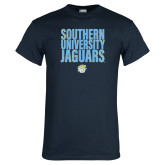 Navy T Shirt-Southern University Jaguars Stacked