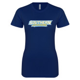 Next Level Ladies SoftStyle Junior Fitted Navy Tee-Southern Jaguars