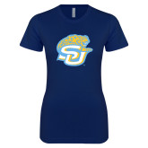 Next Level Ladies SoftStyle Junior Fitted Navy Tee-SU w/ Jaguar