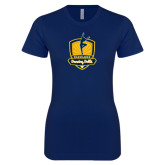 Next Level Ladies SoftStyle Junior Fitted Navy Tee-Fabulous Dancing Dolls Official Mark