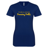 Next Level Ladies SoftStyle Junior Fitted Navy Tee-Fabulous Dancing Dolls Wordmark