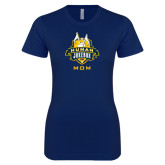 Next Level Ladies SoftStyle Junior Fitted Navy Tee-The Human Jukebox - Mom
