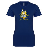 Next Level Ladies SoftStyle Junior Fitted Navy Tee-The Human Jukebox - Alumni