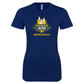 Next Level Ladies SoftStyle Junior Fitted Navy Tee-The Human Jukebox - Grandma