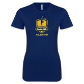 Next Level Ladies SoftStyle Junior Fitted Navy Tee-Fabulous Dancing Dolls - Alumni