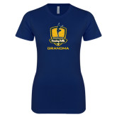 Next Level Ladies SoftStyle Junior Fitted Navy Tee-Fabulous Dancing Dolls - Grandma