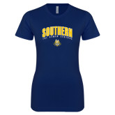 Next Level Ladies SoftStyle Junior Fitted Navy Tee-Arched Southern