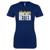 Next Level Ladies SoftStyle Junior Fitted Navy Tee-Skyline