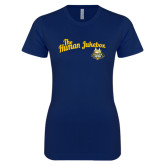 Next Level Ladies SoftStyle Junior Fitted Navy Tee-The Human Jukebox Script