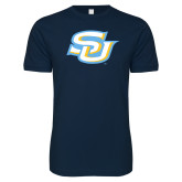 Next Level SoftStyle Navy T Shirt-Interlocking SU