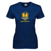 Ladies Navy T Shirt-Fabulous Dancing Dolls - Grandma