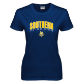Ladies Navy T Shirt-Arched Southern