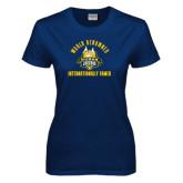 Ladies Navy T Shirt-World Renowed