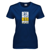Ladies Navy T Shirt-Often Imitated, Never Duplicated Stacked