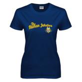Ladies Navy T Shirt-The Human Jukebox Script