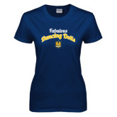 Ladies Navy T Shirt-Fabulous Dancing Dolls Script
