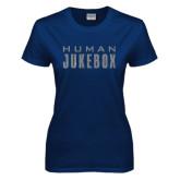 Ladies Navy T Shirt-Human Jukebox Wordmark Glitter
