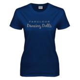 Ladies Navy T Shirt-Fabulous Dancing Dolls Wordmark Glitter