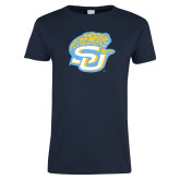 Ladies Navy T Shirt-SU w/ Jaguar